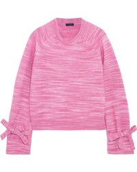 J.Crew - Woman Bow-detailed Marled Knitted Jumper Pink - Lyst