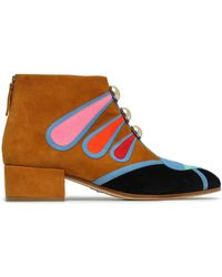 Paula Cademartori - Woman Faux Pearl-embellished Color-block Suede Ankle Boots Multicolor Size 36 - Lyst