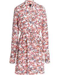 Saloni - Gathered Printed Silk Crepe De Chine Mini Dress - Lyst