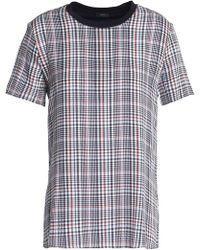 869c04fe8e50c1 JOSEPH - Prince Of Wales Checked Cotton-jersey And Silk-georgette T-shirt
