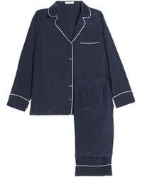 b9c236dc68 Equipment - Woman Avery Washed-silk Pajama Set Navy - Lyst
