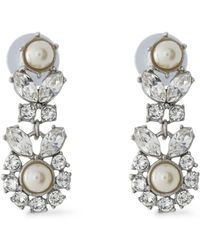 Ben-Amun - Silver-tone, Faux Pearl And Crystal Earrings - Lyst