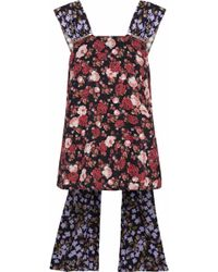 Mother Of Pearl - Faux Pearl-embellished Floral-print Twill Top - Lyst