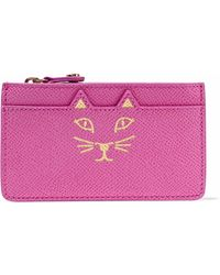 Charlotte Olympia - Feline Metallic Printed Textured-leather Coin Purse - Lyst
