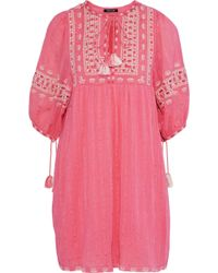 Love Sam - Midsummer Peasant Embroidered Cotton-gauze Mini Dress - Lyst