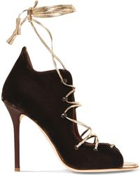 Malone Souliers - Savannah Lace-up Metallic Leather-trimmed Velvet Sandals - Lyst