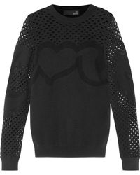 Love Moschino | Crochet And Open Knit-paneled Stretch-knit Sweater | Lyst