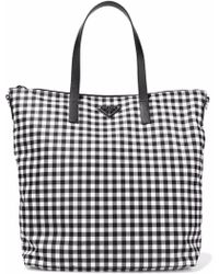 Prada - Leather-trimmed Gingham Shell Tote - Lyst
