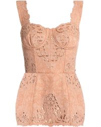 Dolce & Gabbana - Broderie Anglaise-trimmed Cotton-blend Jacquard Bustier Top - Lyst