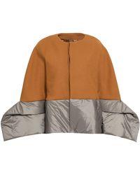Rick Owens - Woman Wool-blend Felt And Shell-paneled Coat Mustard - Lyst