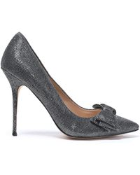 Lucy Choi - Bow-embellished Sequined Leather Court Shoes - Lyst