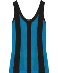 Adam Lippes - Panelled Terry And Open-knit Top - Lyst