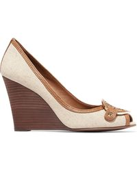 Tory Burch - Amanda Leather-trimmed Canvas Wedge Court Shoes - Lyst
