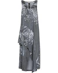 SUNO - Layered Printed Crepe Midi Dress - Lyst