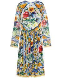 Dolce & Gabbana - Pleated Printed Silk-georgette Dress - Lyst