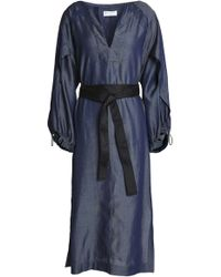 Amanda Wakeley - Belted Chambray Midi Dress - Lyst