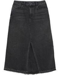 Alexander Wang - Frayed Denim Midi Skirt - Lyst