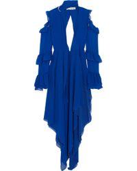 Off-White c/o Virgil Abloh - Asymmetric Buckle-detailed Ruffled Silk-chiffon Gown - Lyst