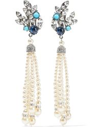 Ben-Amun - Crystal, Stone, Faux Pearl, And Silver-tone Clip Earrings - Lyst