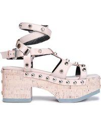 McQ - Woman Studded Leather Platform Sandals Pastel Pink - Lyst