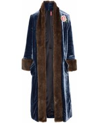STAUD - Corrine Faux Fur-trimmed Embroidered Velvet Coat - Lyst
