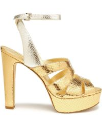 MICHAEL Michael Kors - Metallic Snake-effect Leather Platform Sandals - Lyst