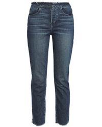 3x1 - W4 Shelter Frayed High-rise Slim-leg Jeans Dark Denim - Lyst