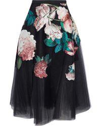 Sachin & Babi - Kamal Floral-appliquéd Pleated Tulle Midi Skirt - Lyst