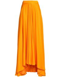 Lanvin - Draped Silk Maxi Skirt - Lyst