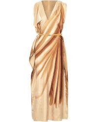 Jil Sander - Belted Draped Printed Silk Maxi Dress - Lyst