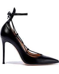 f384304191 Gianvito Rossi Woman Lexi Lace-up Leather Pumps Black in Black - Lyst
