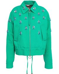 Emilio Pucci - Woman Embellished Cotton, Wool And Silk-blend Matelassé Jacket Jade - Lyst