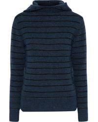 By Malene Birger - Ermos Striped Stretch-knit Hooded Jumper Storm Blue - Lyst