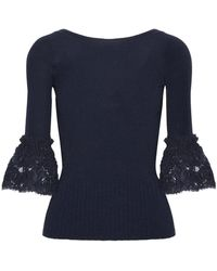 Oscar de la Renta - Corded Lace-trimmed Ribbed Merino Wool Top - Lyst