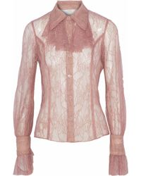 Anna Sui - Ruffle-trimmed Chantilly Lace Shirt - Lyst