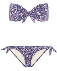 Eberjey - Woman Lola Ursula Floral-print Bandeau Bikini Blue Size S - Lyst