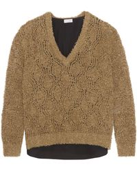 Brunello Cucinelli - Layered Pointelle-knit And Crepe De Chine Sweater - Lyst