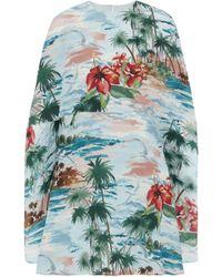 Valentino - Cape-effect Floral-print Silk Crepe De Chine Mini Dress - Lyst