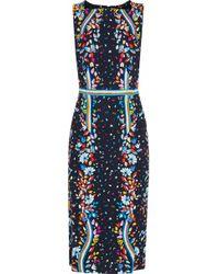 Peter Pilotto Woman Asymmetric Draped Printed Velvet Dress Sky Blue Size 8 Peter Pilotto Buy Cheap Footlocker dQm45kk