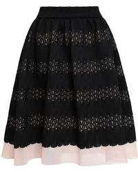 Maje - Jarod Flared Layered Lace And Mesh Skirt Black - Lyst