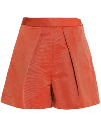 MSGM - Pleated Cotton-blend Faille Shorts - Lyst