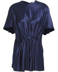 Vionnet - Woman Gathered Silk-satin Top Navy - Lyst
