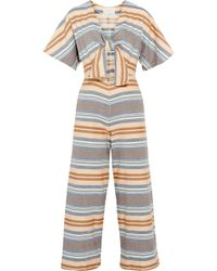 Solid & Striped | The Tie Cutout Striped Basketweave Cotton Jumpsuit | Lyst
