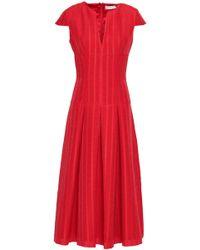 Amanda Wakeley - Woman Pleated Jacquard Midi Dress Red - Lyst