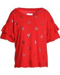 Current/Elliott - Ruffled Metallic Printed Cotton-jersey T-shirt - Lyst