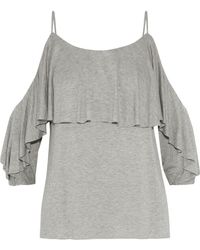 Bailey 44 - Woman Havana Cold-shoulder Gathered Jersey Top Gray - Lyst