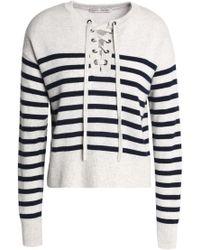 Autumn Cashmere - Lace-up Striped Mélange Cashmere Sweater - Lyst