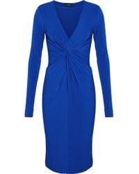 By Malene Birger - Twist-front Stretch-crepe Dress Royal Blue - Lyst
