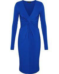 By Malene Birger - Woman Twist-front Stretch-crepe Dress Royal Blue - Lyst