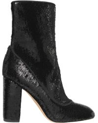 Sam Edelman - Woman Calexa Sequined Stretch-twill Sock Boots Black - Lyst